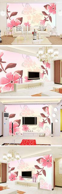 梦幻粉红色手绘花朵电视背景墙