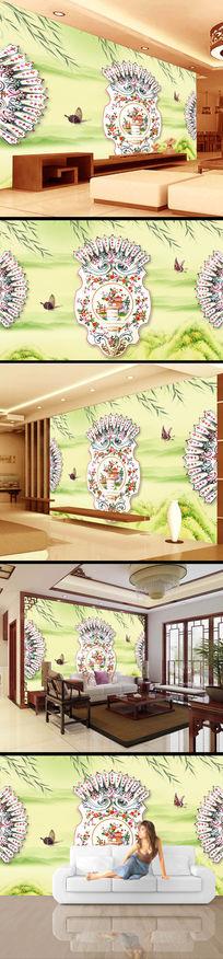 青花瓷花纹山水画电视背景墙