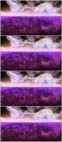 紫色蒲公英草地月亮城堡白云高清视频素材