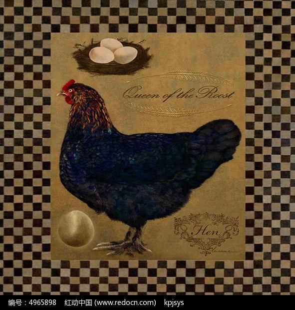 做旧母鸡装饰画欧美风格设计
