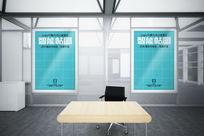办公室玻璃隔断走廊挂画海报智能贴图
