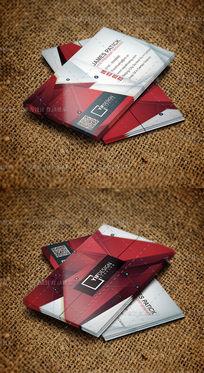 红色三角拼接时尚大气二维码名片设计