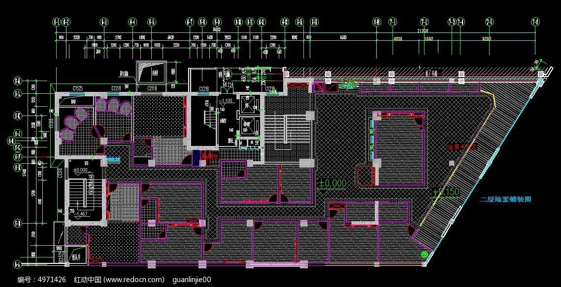 原创设计稿 cad图库 室内装修 咖啡厅二层地面铺装图  请您分享: 素材
