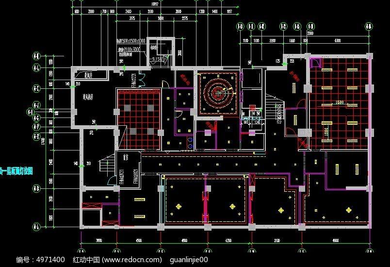 咖啡厅负一层顶面灯背景_CAD图纸图片素材cad让如何打印淡变位图图片
