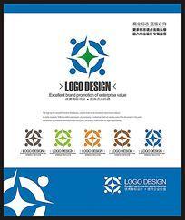 蓝色电子网络科技商务标志设计