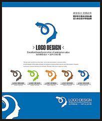 蓝色现代创意大脑时尚标志设计