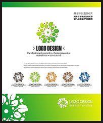绿色商务服务现代标志设计