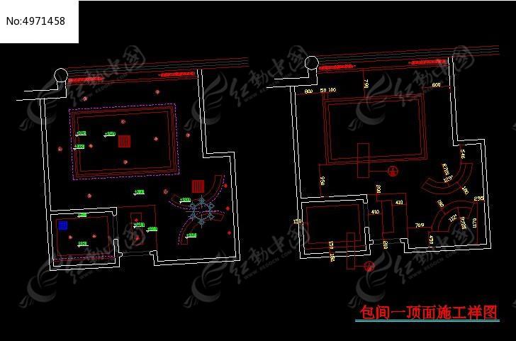 五星级咖啡厅尺寸顶面v尺寸包间图弱电工程竣工图cad图片