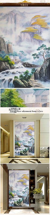新中式乡村田园风光油画艺术玄关