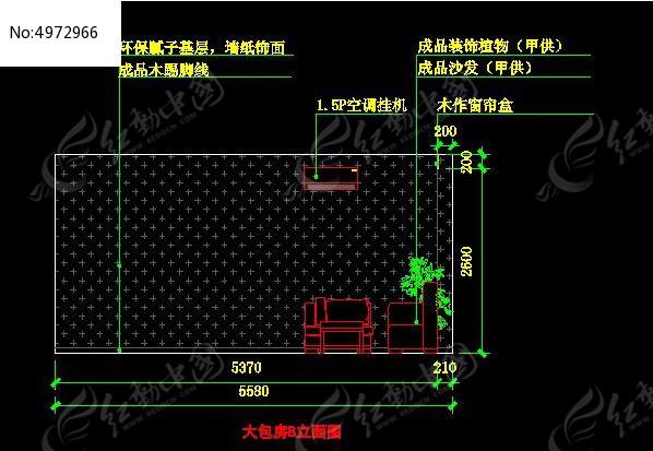 中式大包店汤锅房B立面图_CAD图纸图片素材普通办公室图纸v大包图片