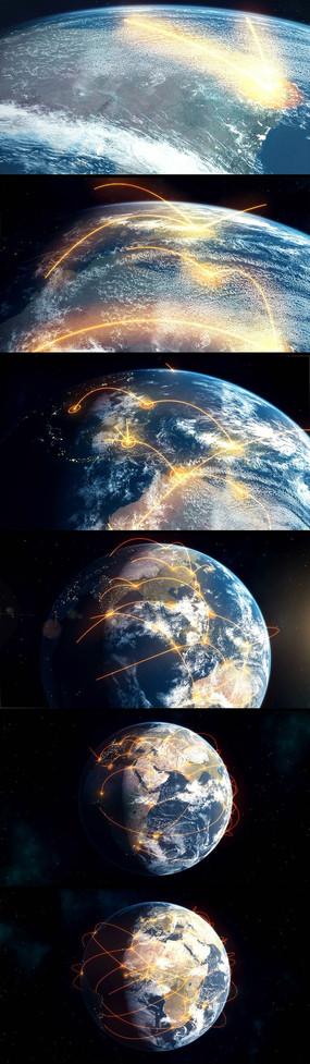 地球辐射线动画高清视频素材 mov