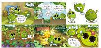卡通绿色豆豆儿童插画 PSD