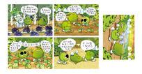 绿色可爱豆豆卡通插画 PSD