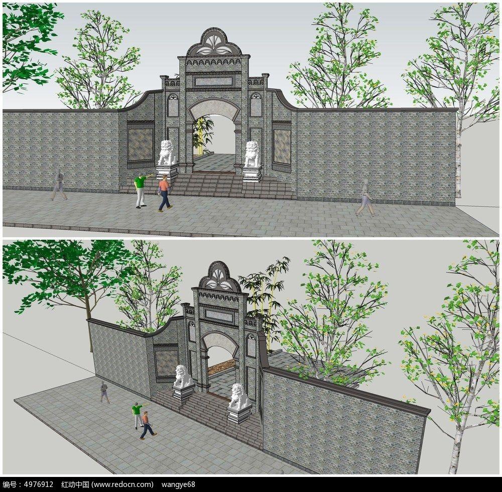 中式古典庭院大门su模型图片