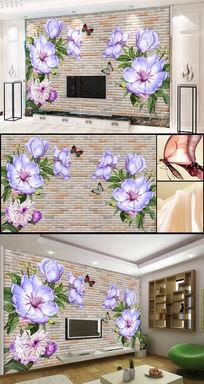 3d砖墙梦幻欧式花朵花卉电视背景墙