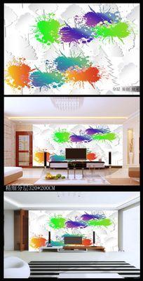 创意立体喷墨电视背景墙