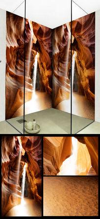 高逼格洞穴浴室浴缸背景3D玄关背景墙