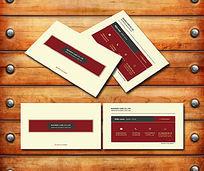红色简约商务名片模板