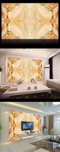 欧式西式大理石花纹电视墙