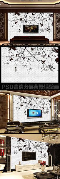 手绘黑白3d抽象树方格小鸟电视背景墙