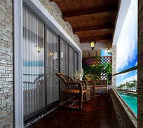 休闲小阳台3d室内模型