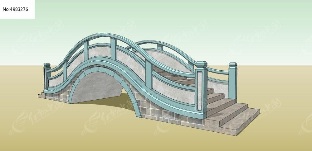 园林景观桥su模型