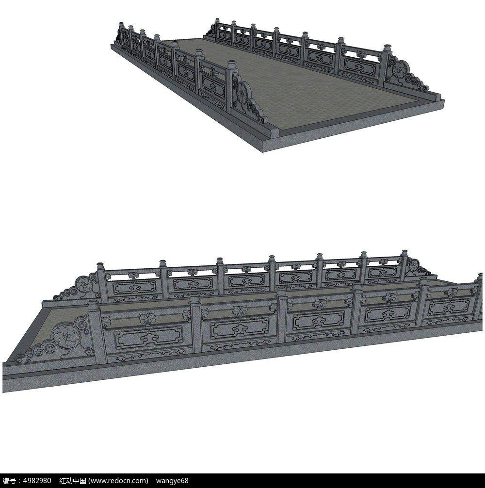 中式雕刻景观桥su模型skp素材下载