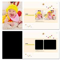 百天黄色框框儿童模板 PSD