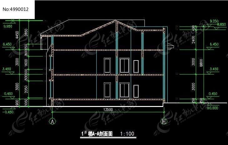 别墅式疗养院1图纸A-A号楼建筑规划图_CAD图托握把剖面木一体图片