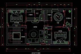 都市风格自建别墅二层电气平面图 CAD