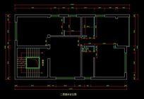 都市风格自建别墅二层墙体定位图 CAD