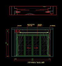 都市风格自建别墅二层书房推拉门造型立面图 CAD