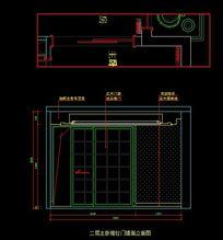 都市风格自建别墅二层主卧推拉门墙面立面图 CAD