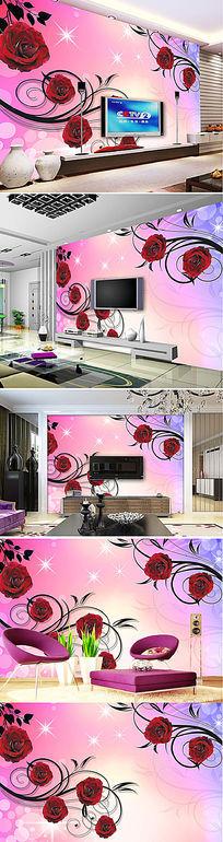 粉红玫瑰花纹电视背景墙