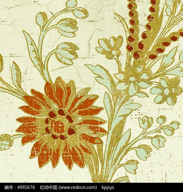 复古花朵无框装饰画设计