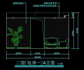 高端图纸火锅店图纸1号包房A立面图_CAD肥牛二层车床小图片