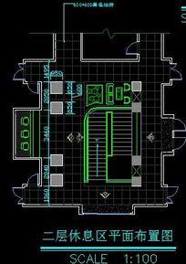 高端肥牛火锅店二层休息区平面布置图 CAD