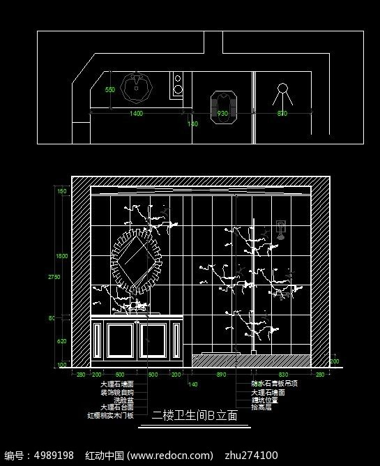 古罗马风格别墅二楼卫生间浴室柜立面图_CADcad块如何替换图片