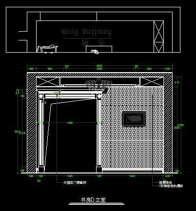 古罗马风格别墅书房d向墙面立面图