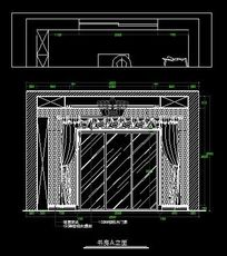 古罗马风格别墅书房窗户墙面造型立面图
