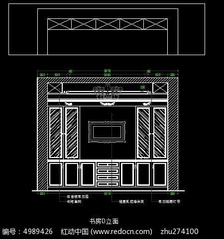 古罗马风格别墅书房书柜外立面图