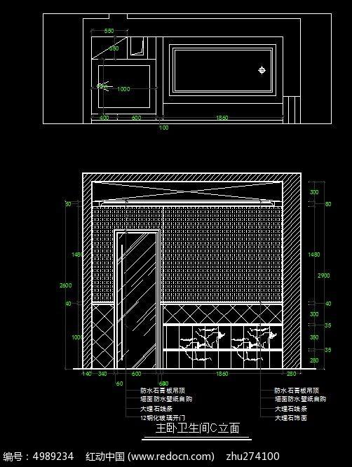 古罗马风格别墅主卧室卫生间浴缸立面图