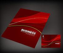红色条形画册封面模板