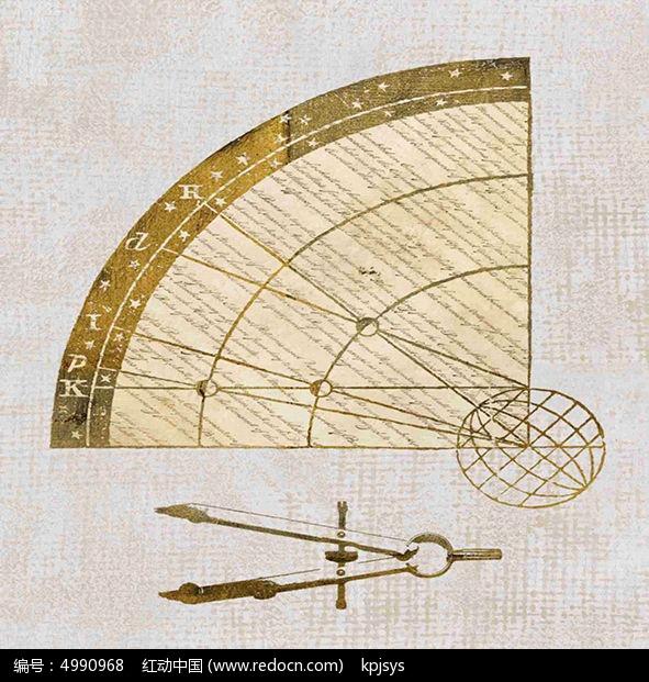 美复古风格背景圆规装饰画设计