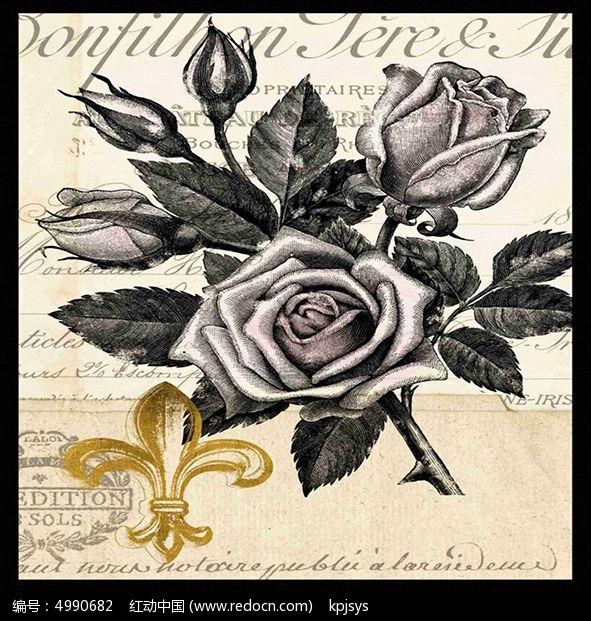 欧美复古风格黑玫瑰装饰画设计