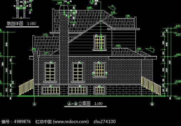 欧式风格别墅a-h面建筑外观立面图