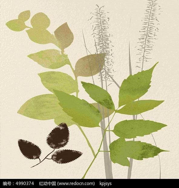 欧式树叶复古装饰画设计图片