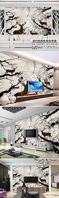 神秘深林怀旧抽象大树麋鹿电视背景墙