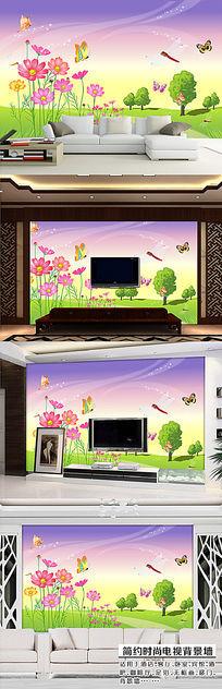 小菊花春天风景沙发客厅背景墙