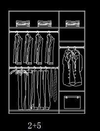 2+5规格衣柜内部结构设计立面图